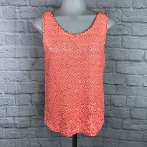 J. Crew Small Sequin Tank Top Pink Orange